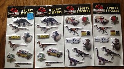 Vintage 4 Packs Jurassic Park 1992 Puffy Stickers - New Old Stock 32 Stickers