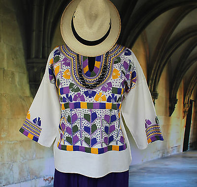 Purple & Yellow Muslin, Corn Motif Hand Embroidered Blouse, Mexican Hippie Boho
