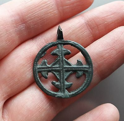 Ancient Tin Bronze Cross Pendant Viking Kievan Rus #9