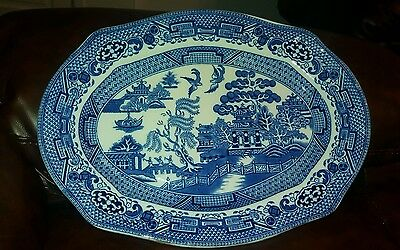 """willow pattern meat plate 14"""""""