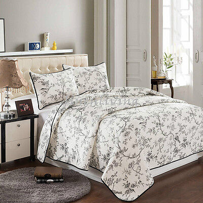 Reversible Quilted Cotton Patchwork Coverlet Bedspread 3pc Set Queen King MP006