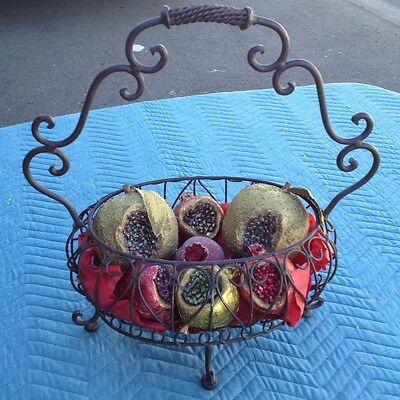 Longaberger Wrought Iron Basket with Handle and Decorative Fruits