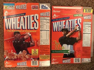 2-Wheaties  Box Tiger Woods Empty Flat (1-unused Limited Edition)