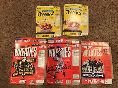 Vintage Lot Of Unused Wheaties And Cheerios Cereal Boxes Twins Packers