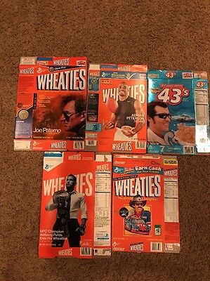 Wheaties And Cheerios Lot Of Five Empty Flat Boxes Petty Paterno Peterson Pettis
