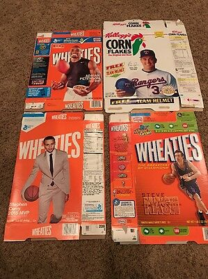 Wheaties And Corn Flakes Flat Boxes Peterson,Curry,Nash, Ryan