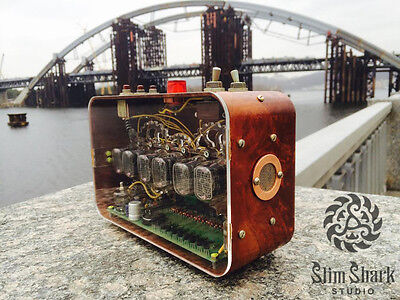 Nixie Tubes 6x IN-12 Alarm Clock Retro Bakelite Steampunk with USB charge port