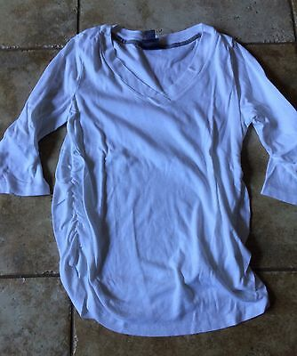 Oh Baby Maternity By Motherhood XL Extra Large White V Neck 3/4 Sleeve Shirt Top