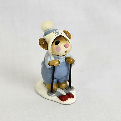 Rare Vintage Annette Petersen Wee forest Figurine Skiing Mouse 1979 Signed