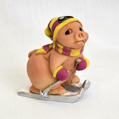 """Collectible Skiing Pig Figurine Made In Italy 3"""" Excellent"""