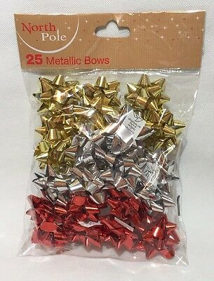 25 Gift Wrap Bows Christmas Metallic Wrapping Xmas Decoration Red Gold Silver