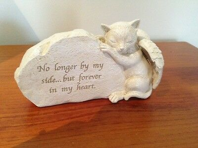 Cat Memorial Statue with Angel's Wings - Resin - New!