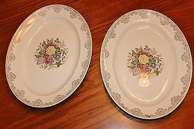 Vintage Sheffield 23 Karat Platters 10 1/2 X 13 1/2 Inches Set Of Two Floral Exc