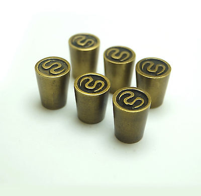 Lot of 6 pcs Vintage Asian Old Stamp Sign Knob Pull Cabinet Solid Brass Pulls