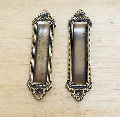 Set of 2 pcs Vintage Victorian Pull Sliding Door Cabinet Handle Cast Solid Brass