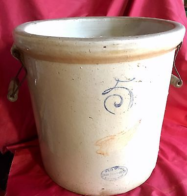 Red Wing 5 Gallon Crock with Wood Handles 1915 stoneware pottery vintage