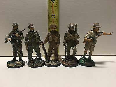 British Fighting Men, handpainted Pewter figures (5) - Franklin Mint