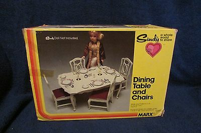 Vintage Marx Sindy Doll Dining Table and Chairs with Original Box