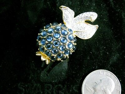 Retired Swarovski Blue Berry Pin Swan Signed Jewelers Collection Brooch