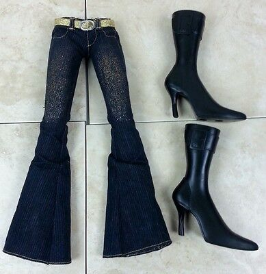 """Large 24"""" Bratz Doll Clothes Jeans Flare Bottom Gold Shimmer with Black Boots"""