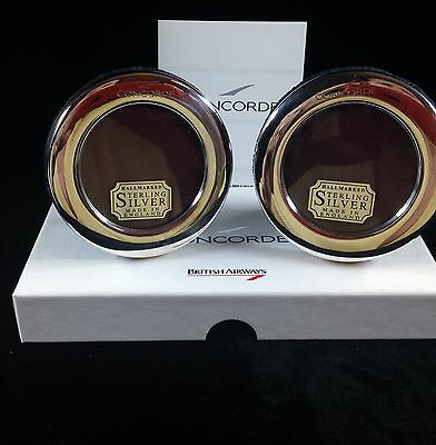 Concorde British Airways Boxed Set Of 2 Sterling Silver Hallmarked Picture Frame