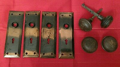 Vintage Lot Door Knobs and Back Plates Set  Brass Metal Antique