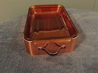 Vintage Anchor Hocking 8x12 Amber Glass Baking Dish Chez Gourmand Copper Server