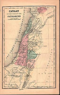 Canaan in time of the Patriarchs Antique Colored Map 1870