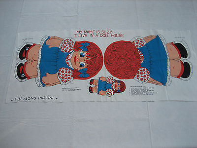 NOS Vintage SUZY Stuffed Doll Fabric Panel Pattern