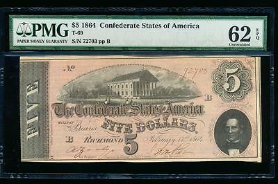 AC T-69 $5 1864 Confederate Currency CSA PMG 62 EPQ