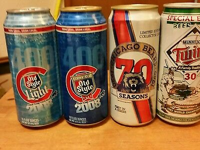 Vintage Beer Sports Cans  4-Diff  2-Chicago Cubs 2008 Old Style 1-1987 Twins Spe