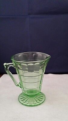 Depression Glass Block Optic Green Rayed Footed Cream Pitcher