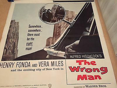 Alfred Hitchcock's The Wrong Man Original 6 Sheet Film Movie Poster Linen Backed