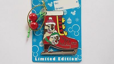 Disney 2010 Happy Holidays Chip & Dale Ice Skate Pin - Limited Edition of 1500