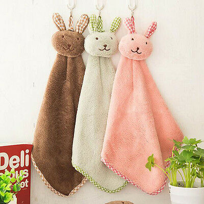 Square Coral Fleece Hanging Hand Towels For Kitchen Bathroom Wipe Nursery Use