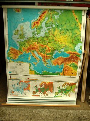 School Pull Down Wall Map Nystrom Markable Europe Asia Africa Australia