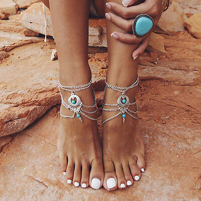Boho Turquoise Barefoot Sandal Beach Anklet Foot Chain Jewelry Ankle Bracelet GS
