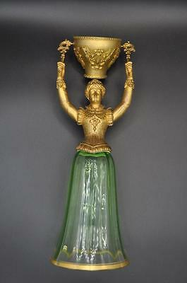 Antique German Glass & Gilt Metal Figural Bridal Wedding Cup  ~ Rare