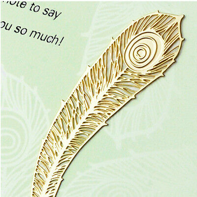 Originality Gold Gorgeous Feather Peacock Reading Metal Clip Bookmark Book Marks
