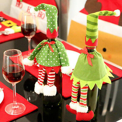 1Pc Red Wine Bottle Cover Bags Christmas Dinner Table Home Party Decoration