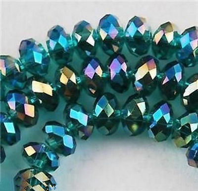 4x6mm100pcs Swarovski Peacock green AB Crystal Faceted Rondelle Loose Bead