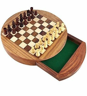"""Magnetic Wooden Chess Set with Storage Drawer ~ Top Quality Board Game 7"""""""