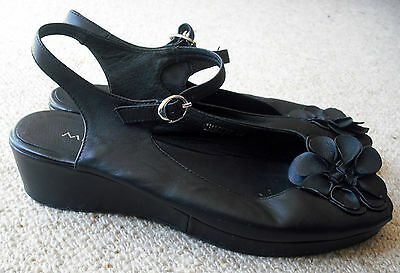 "Midas ""imagery"" Leather Wedge Shoes . Black. Size 39. Worn Twice"