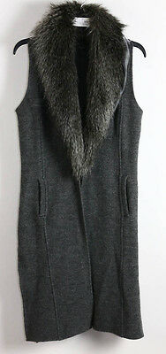 NWT Chico's Black Label Heather Gray Wool Faux Fur Collar Vest 00 $199.00