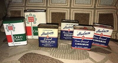 Mixed Lot of 6 Vintage Spice Cans~4 Hudson, 2 Ann Page