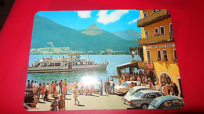 POSTCARD:ST WOLFGANG Hotel Weisses Rossi 1982 boat cars mercedes VW Beetle 1-99