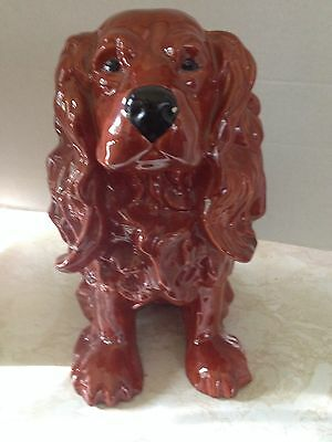 Vintage Large Heavy Ceramic Pottery Cocker Spaniel Dog Figurine
