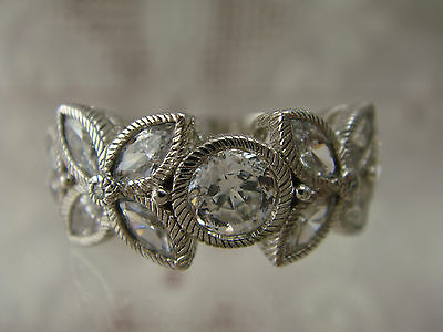 Judith Ripka 2.7 Cttw Diamonique Floral Design Sterling Silver 925 Ring Size 6