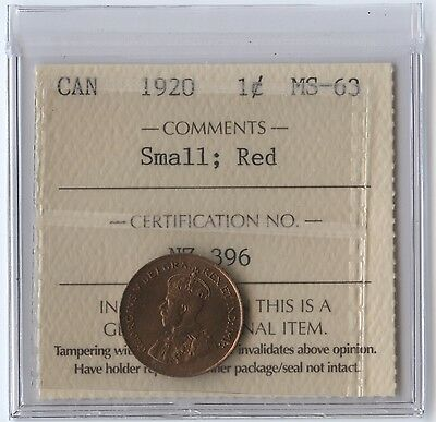 Canada 1 Cent 1920 ICCS MS-63 Small; Red