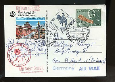 Nepal 1972 German Mt Everest Expedition signed cover (card)